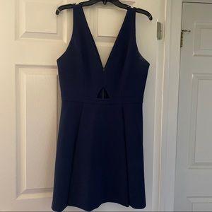 Alice + Olivia Navy Nina Cutout Fit & Flare Dress